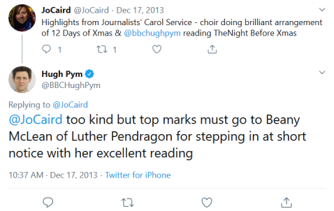 Screenshot_2019-08-27 Hugh Pym on Twitter JoCaird too kind but top marks must go to Beany McLean of Luther Pendragon for st[...]