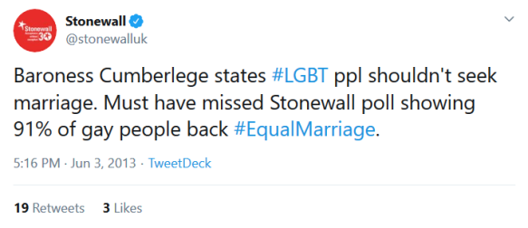 Screenshot_2019-09-15 Stonewall on Twitter Baroness Cumberlege states #LGBT ppl shouldn't seek marriage Must have missed St[...]