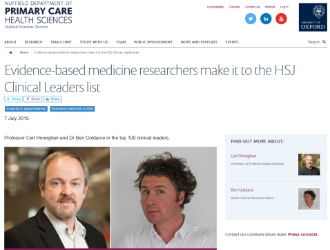 Screenshot_2019-09-22 Evidence-based medicine researchers make it to the HSJ Clinical Leaders list