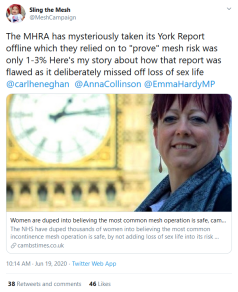 Screenshot_2020-08-14 Sling the Mesh on Twitter The MHRA has mysteriously taken its York Report offline which they relied o[...]